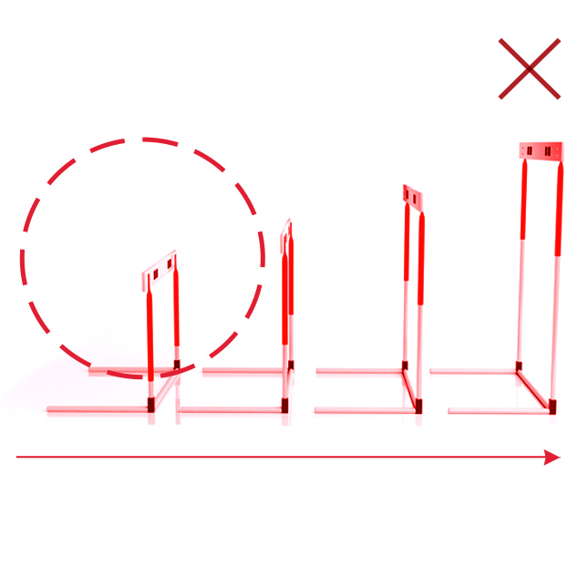 Red graphic with track hurdle and outline geometry