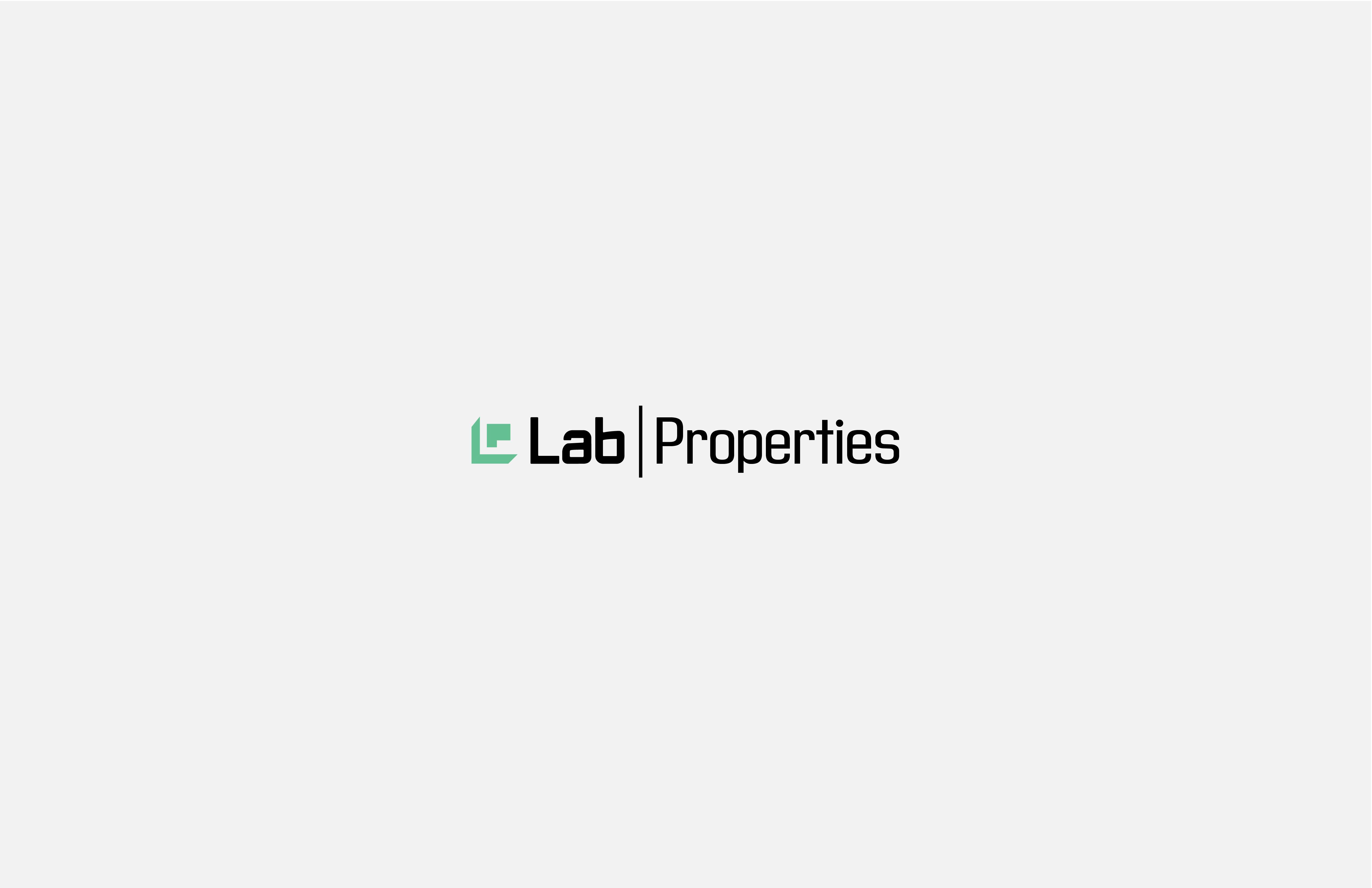 Lab Properties Typographic logo with green monogram icon