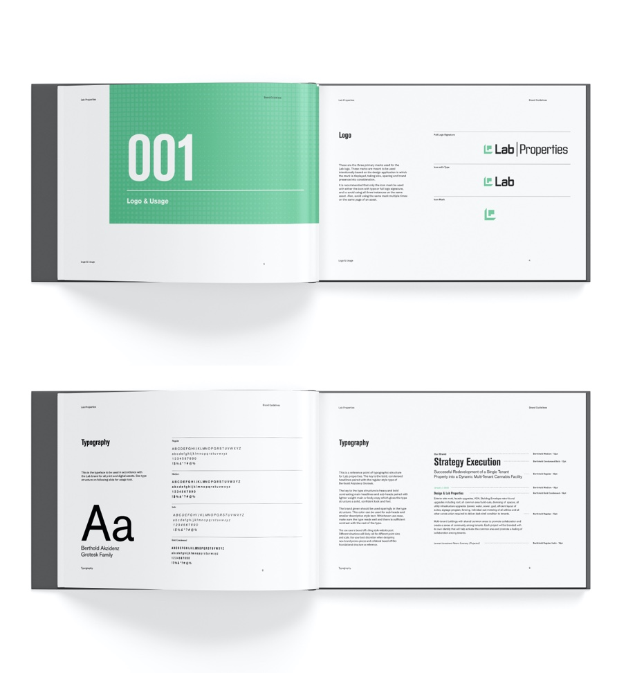 Lab properties branding guidlines logo and typography spreads