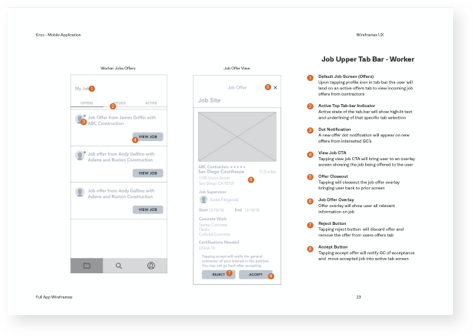 Kroo construction application wireframe with annotations