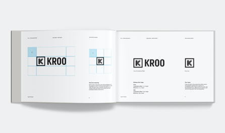 Kroo Mobile app brand guideline logo sizes spread