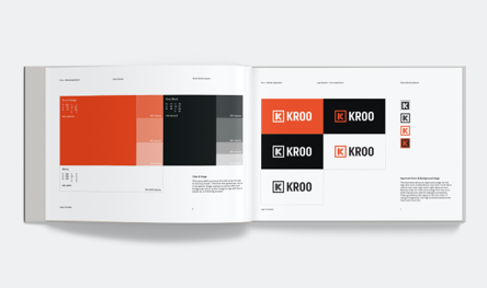 Kroo Mobile app brand guideline logo and color spread