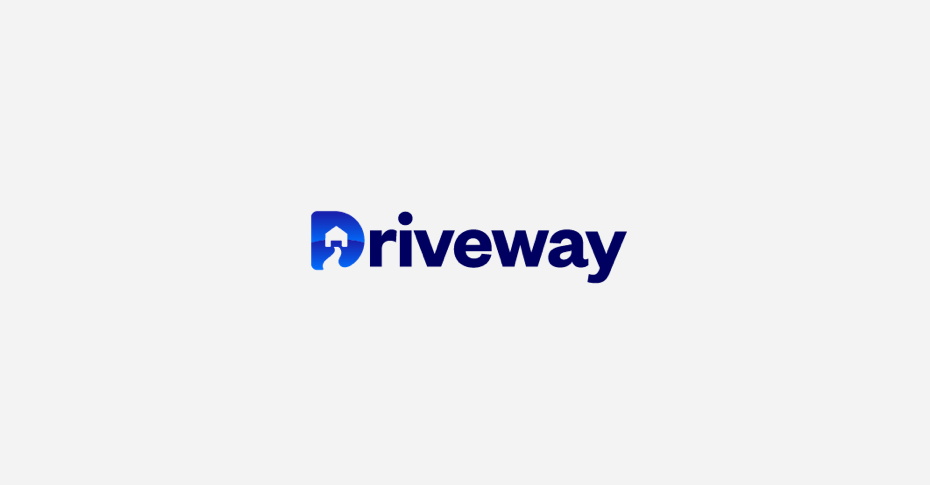 Driveway logo with blue d with driveway and house in it