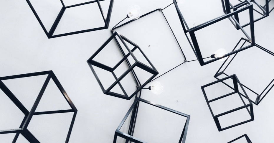 Abstract cube structures and string lights hanging down from ceiling