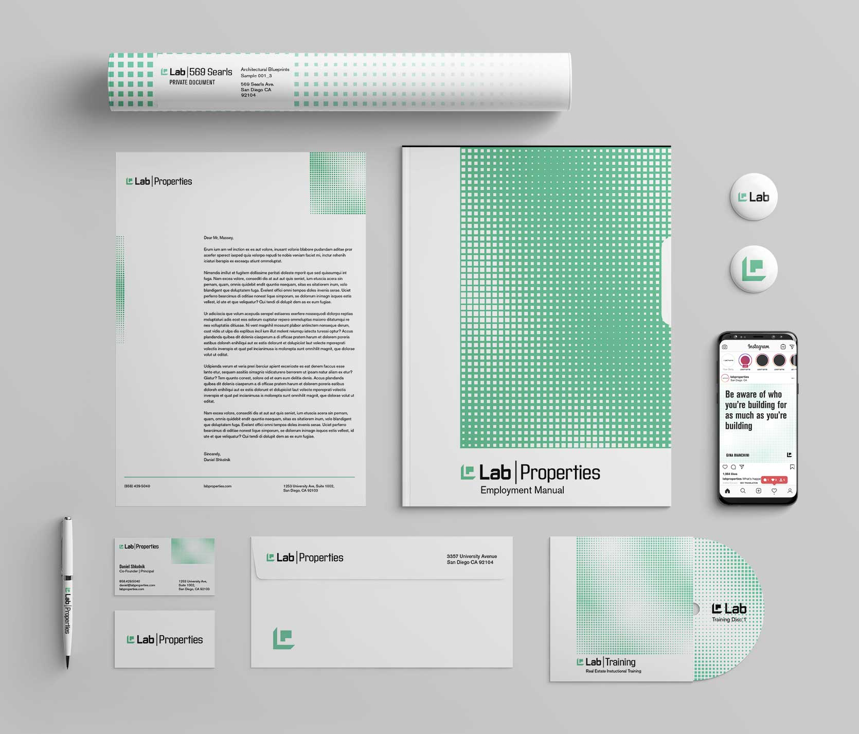 Lab Properties stationery and branding office set