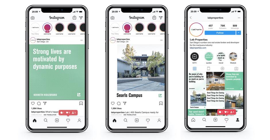 Lab Properties Instagram designs and posts