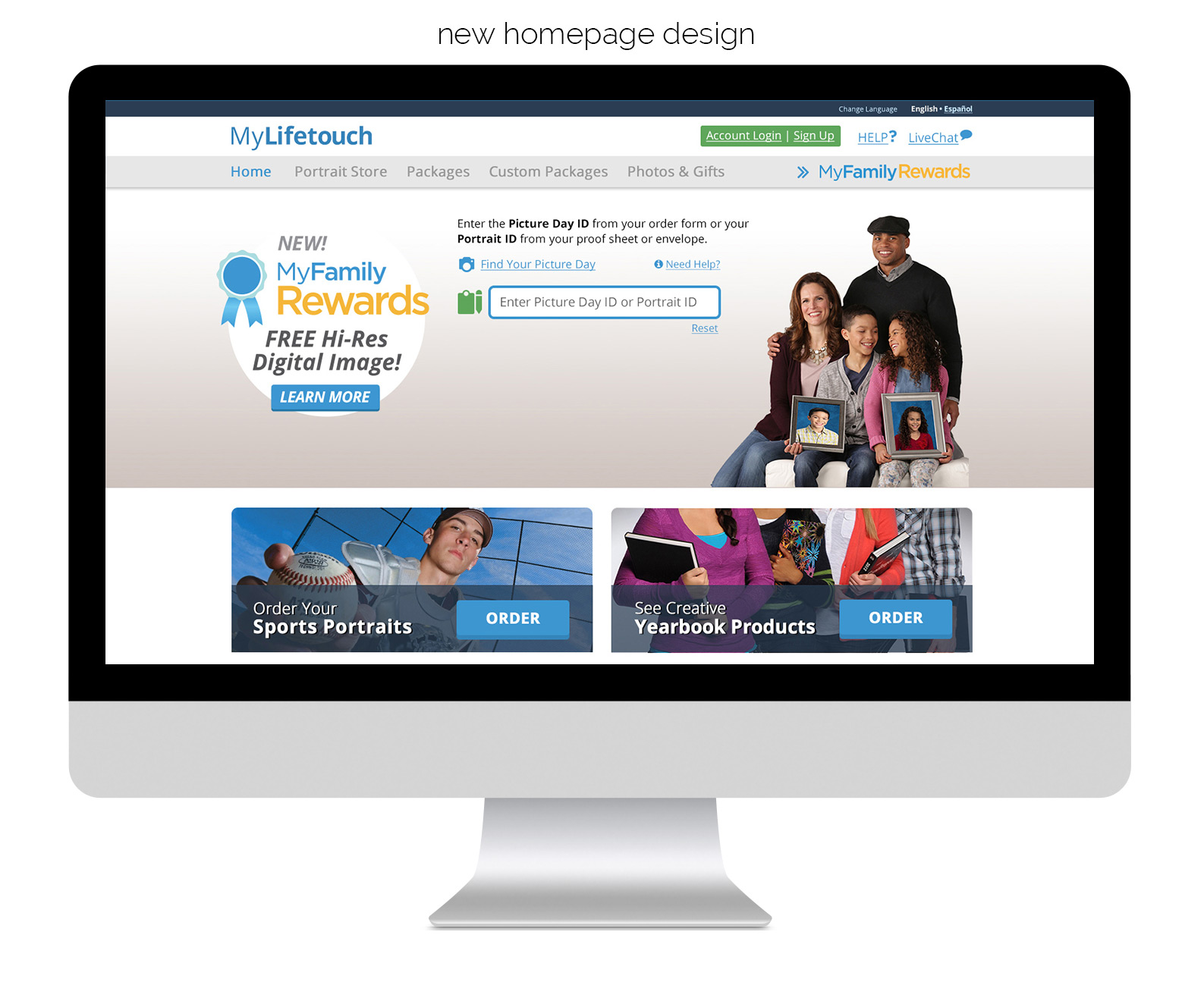 New MyLifetouch.com homepage design