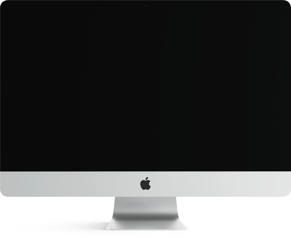 photo of imac and a video player within