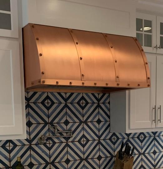 Amoretti Brothers Custom Copper Range Hood barrel shape