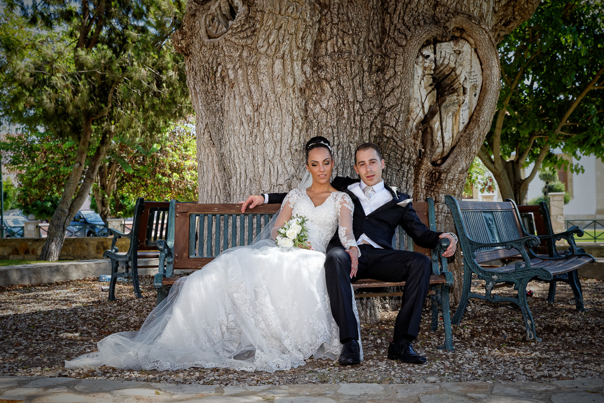 portrait of handsome bride and groom