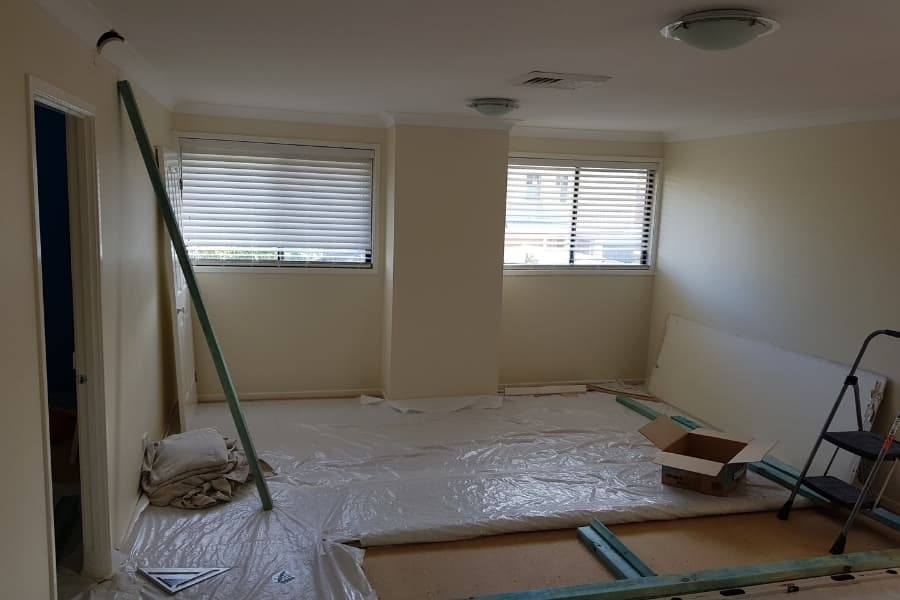 During - Rumpus split into new bedroom. Framing and sheeting completed. Ready for painting