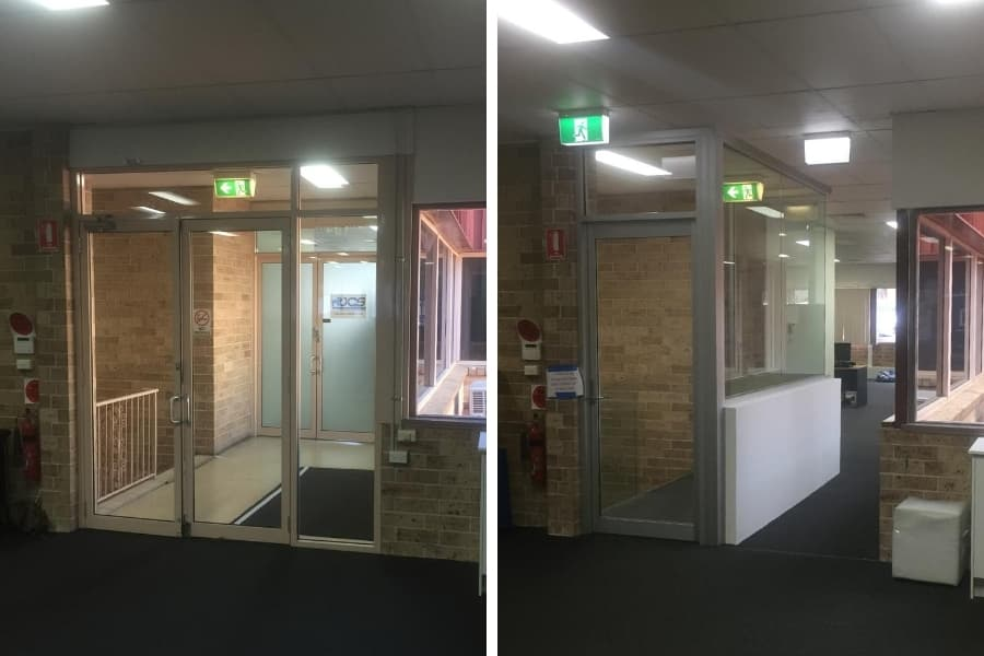 Single with access control and hall to join separate offices