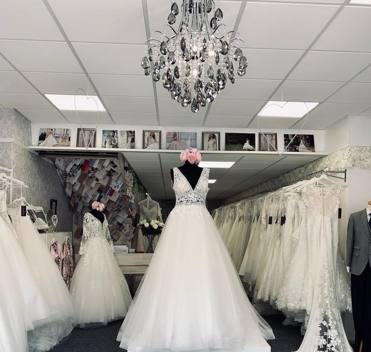 Wedding dressing on display