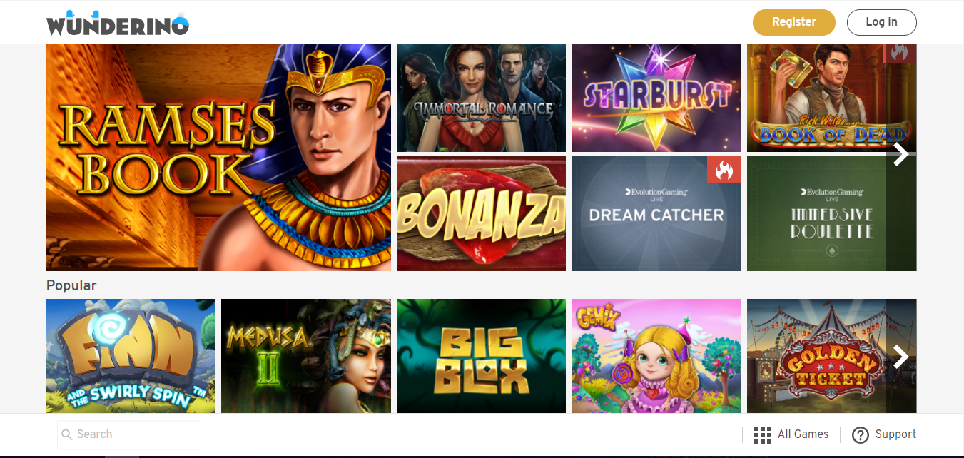 Wunderino Casino games selection