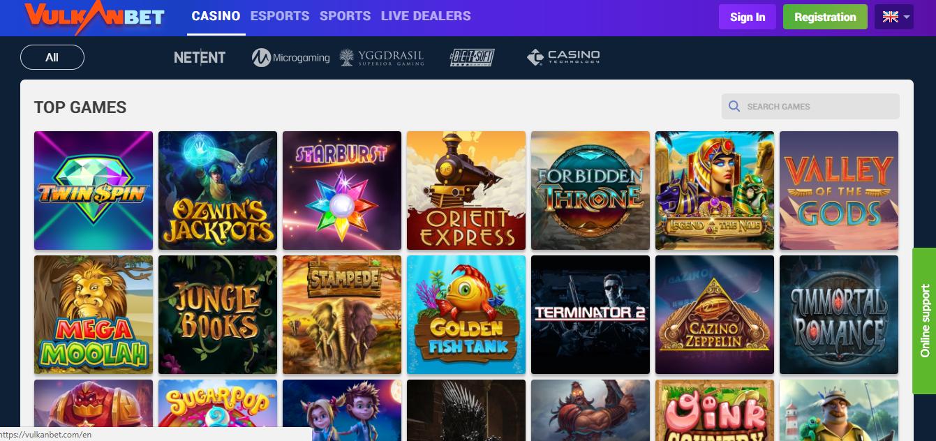 Vulkanbet Casino top slots