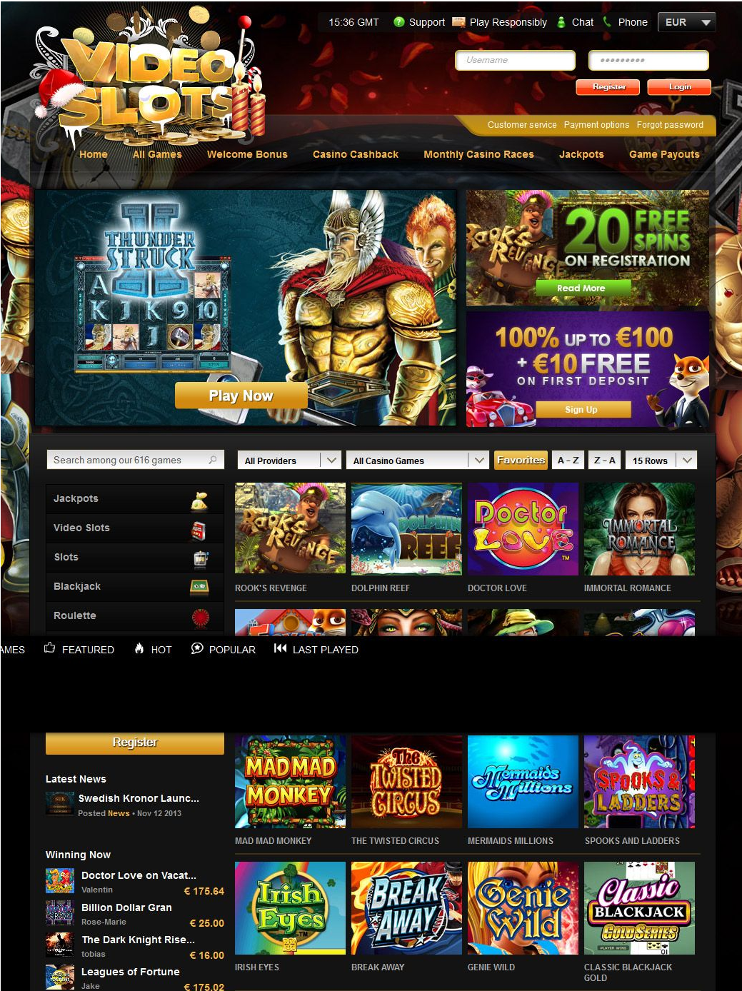 Videoslots Casino games selection