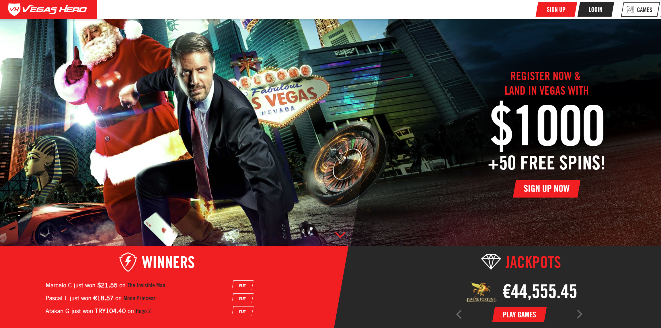 Vegashero Casino Wlecome Match Up Deposit Bonus