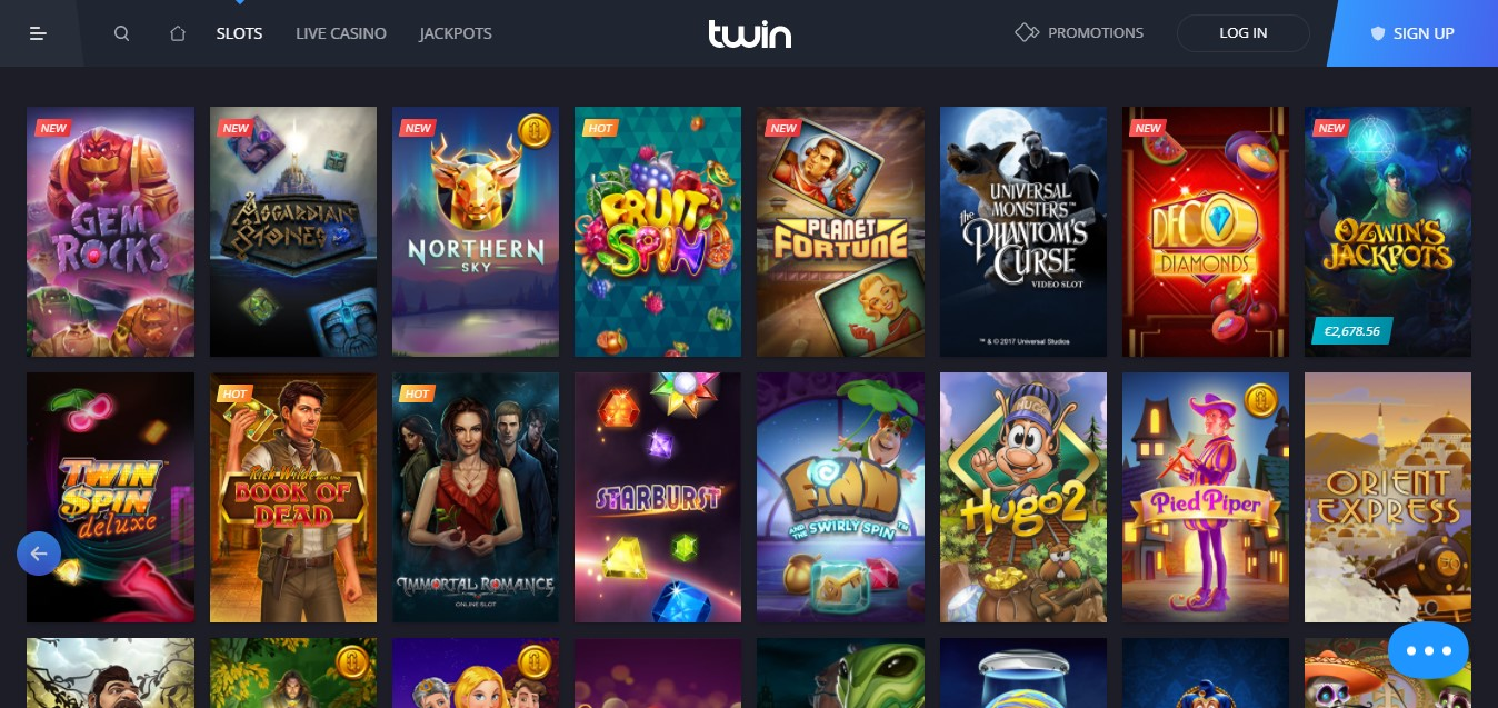 Twin Casino slots selection