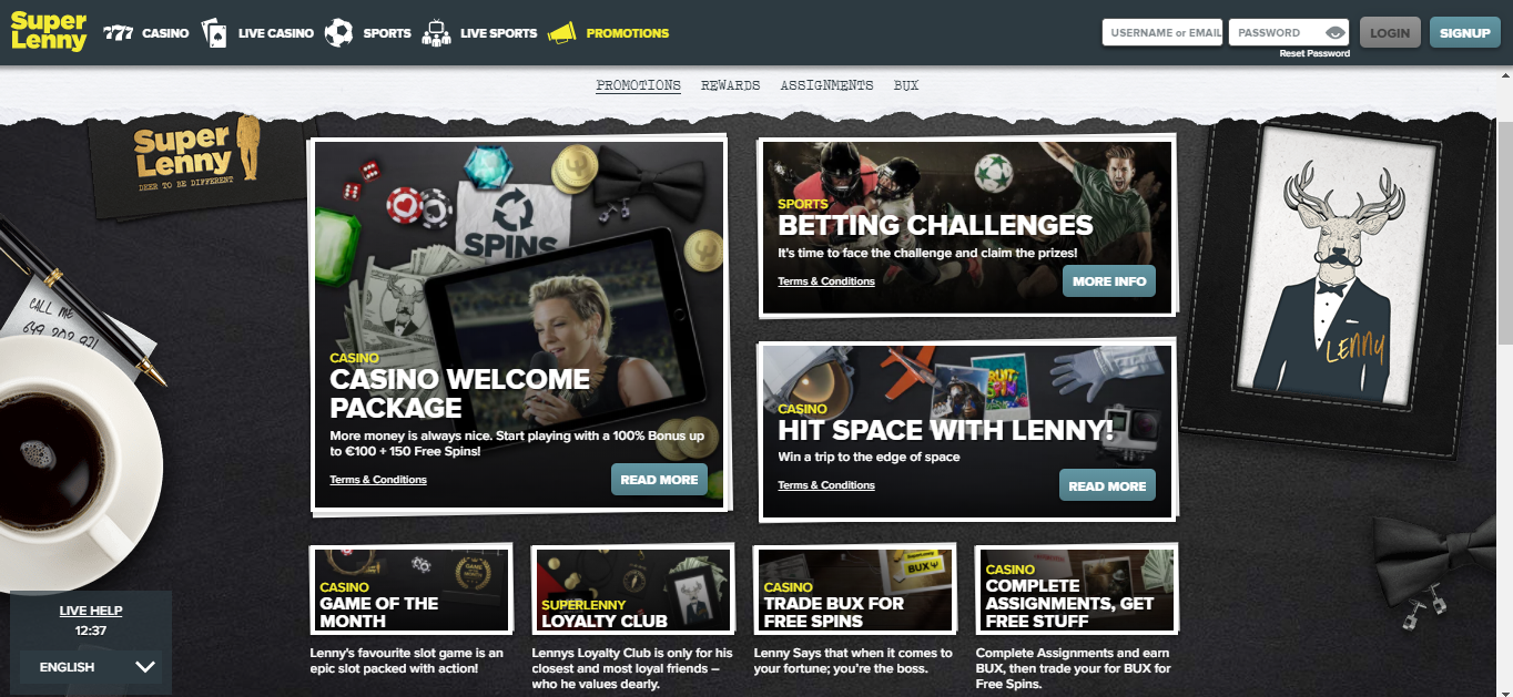 Superlenny Casino promotions and bonuses