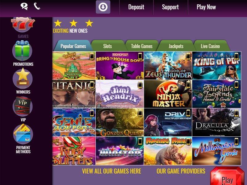 Slotsmagic Casino Game selection