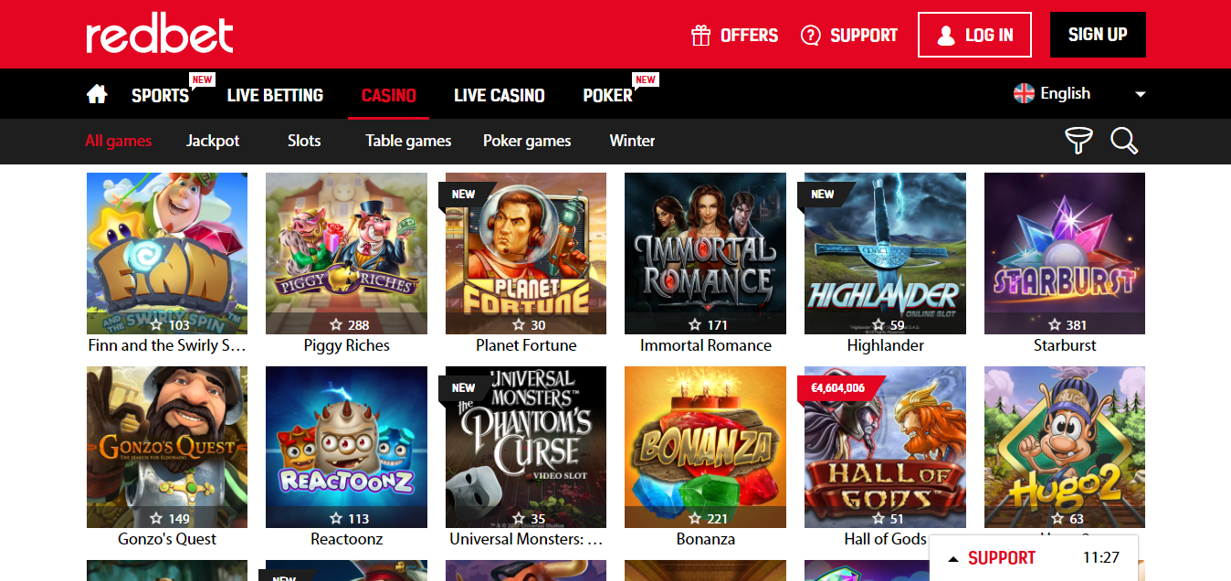 Redbet Casino virtual games selection