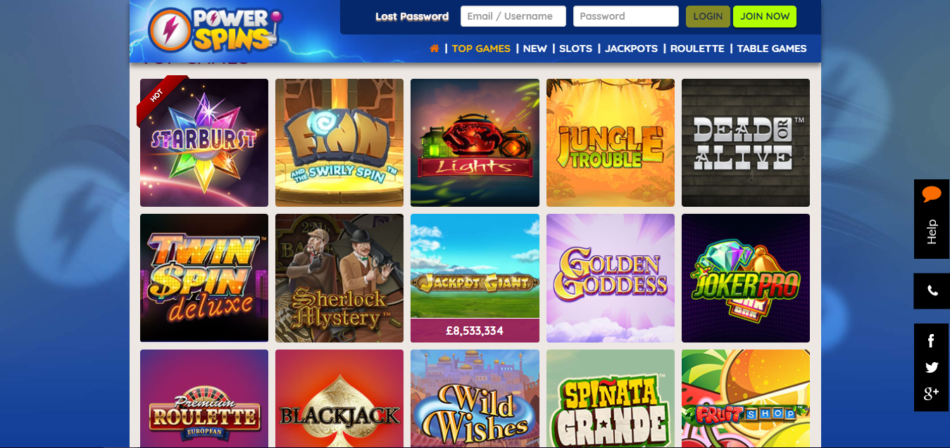 Powerspins Casino top games