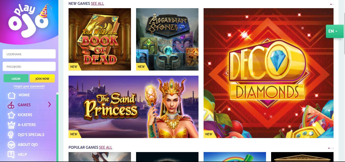 PlayOJO casino new games selection