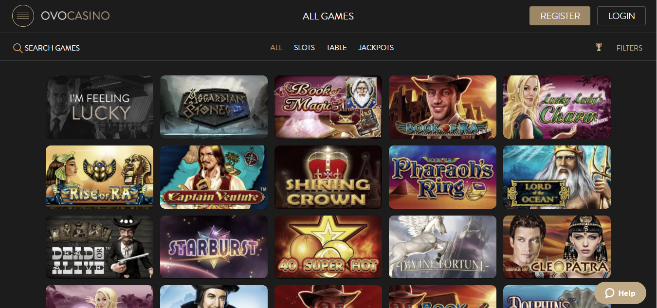 OvoCasino Games selection