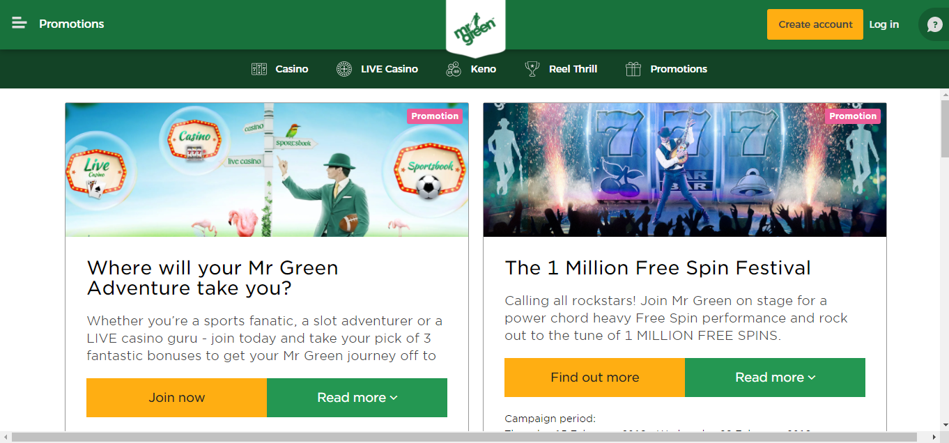 Mrgreen Casino promotions and campaigns