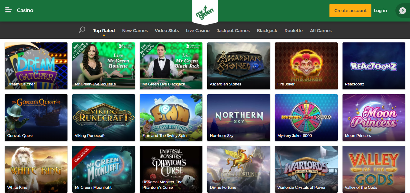 Mrgreen Casino games selection