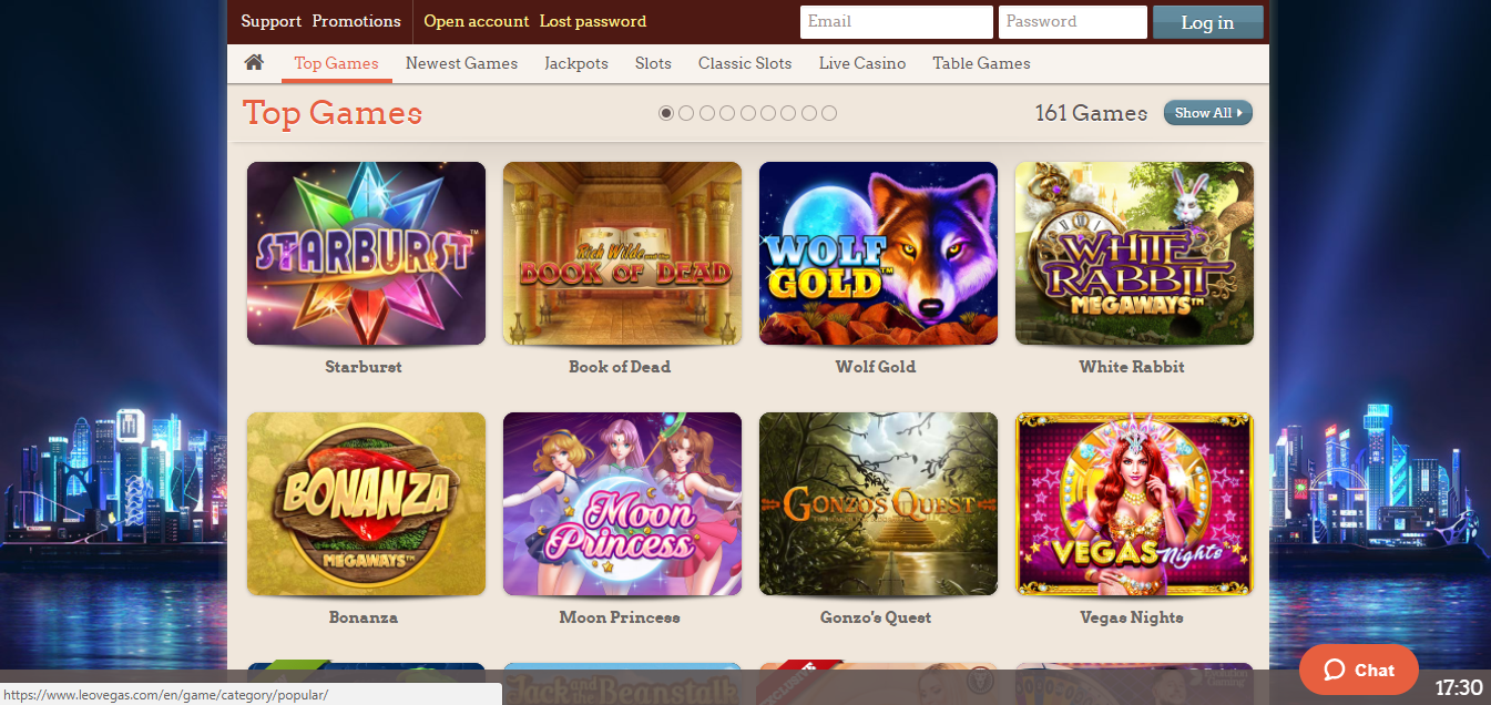 Leovegas Casino games selection