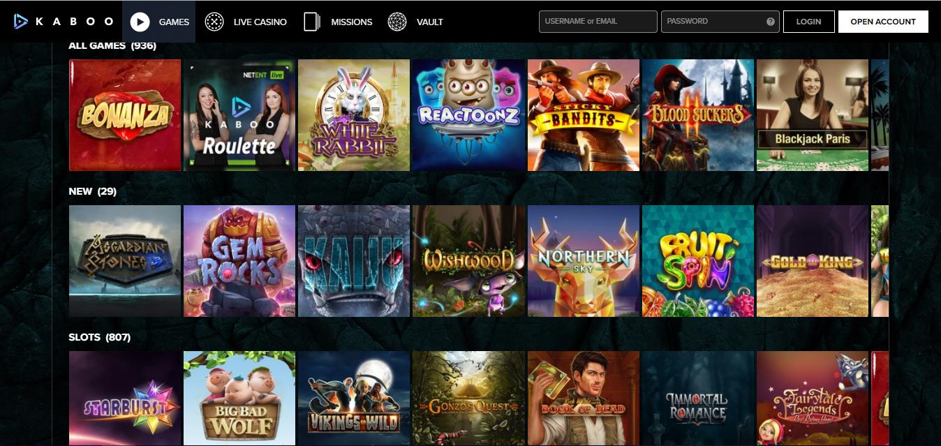 Kaboo Casino games selection