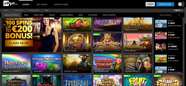 Hopa Casino games