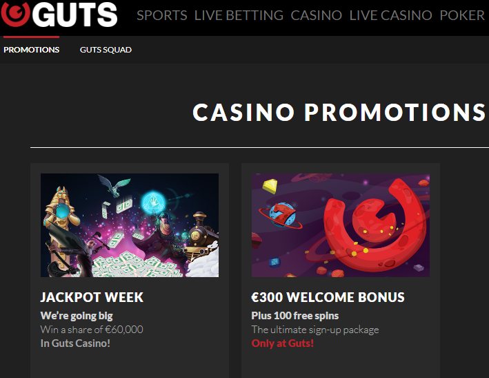 Guts Casino Bonuses