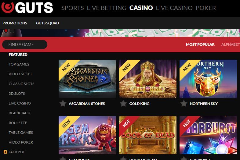 Guts Casino Games Selection