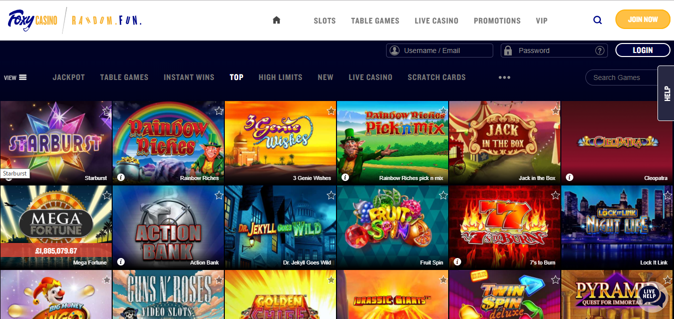 A screenshot of online slots games offered at FoxyCasino