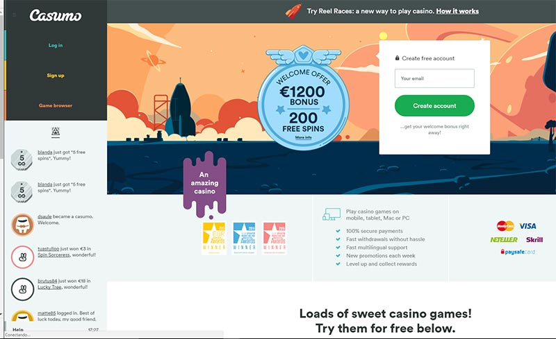 Casumo Casino welcome bonus for new players