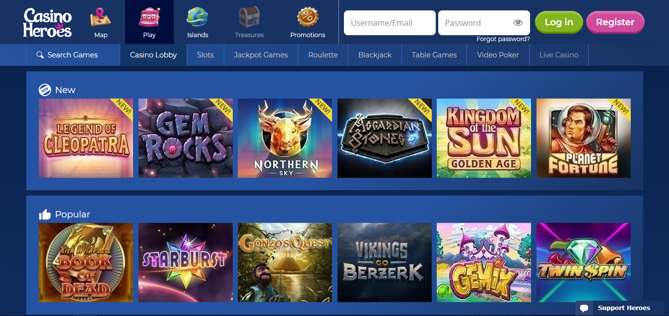 Casinoheroes Casino games selection