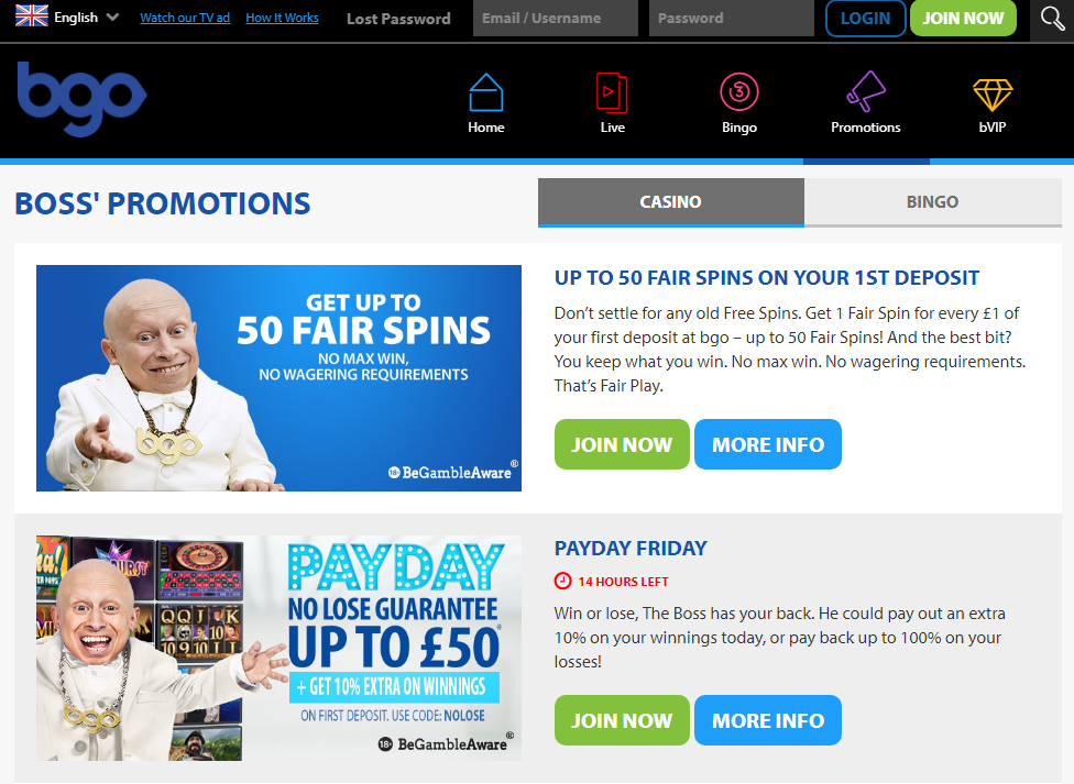 BGO Casino - latest promotions.