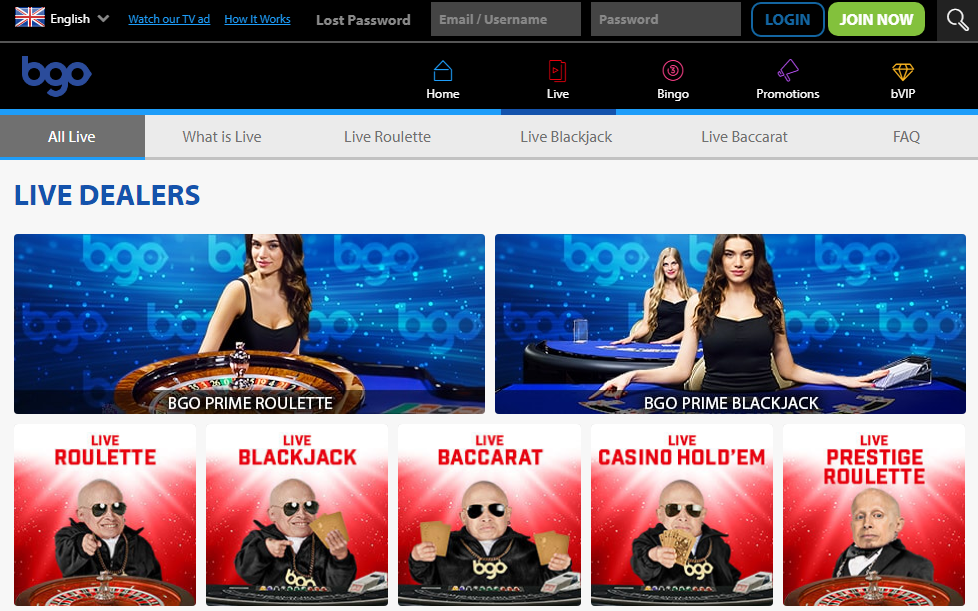 BGO Casino has a live section offering several variants of table games.