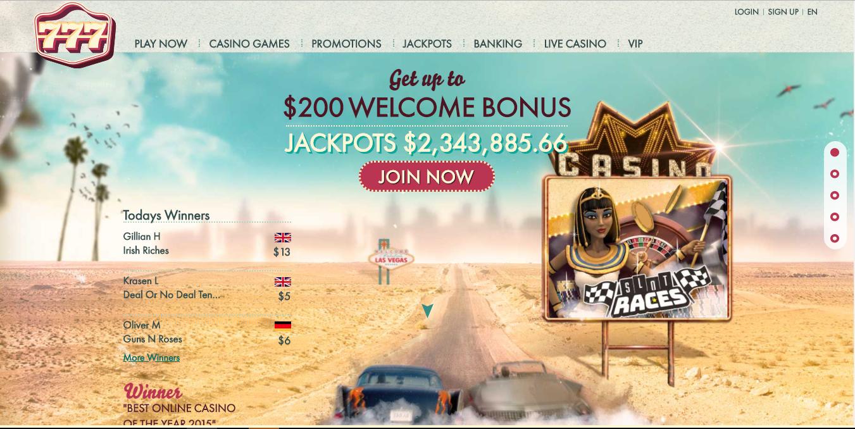 777 Casino superb welcome bonus