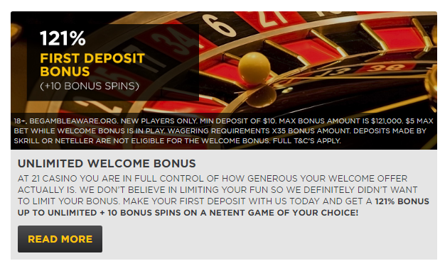 21 Casino Welcome Bonus Package