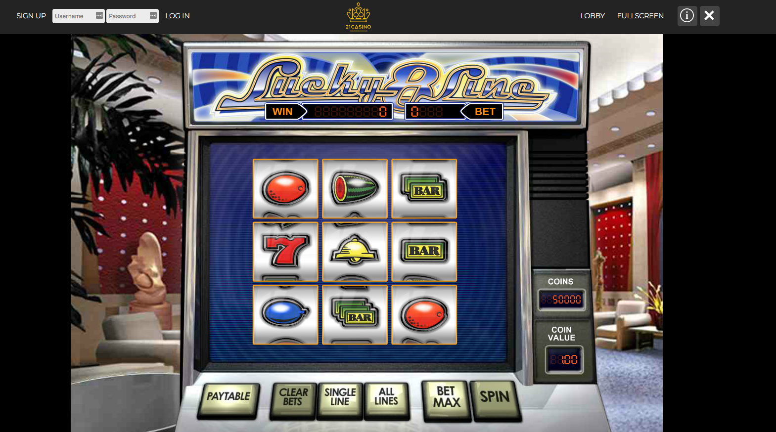 Lucky 8 Line slots at 21 Casino - one a selection of great games