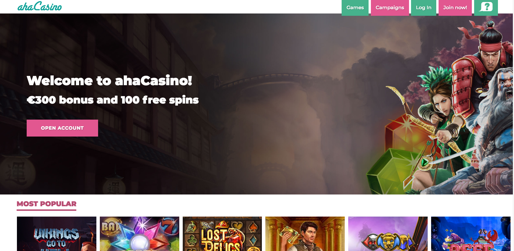 ahaCasino Bonus Offer