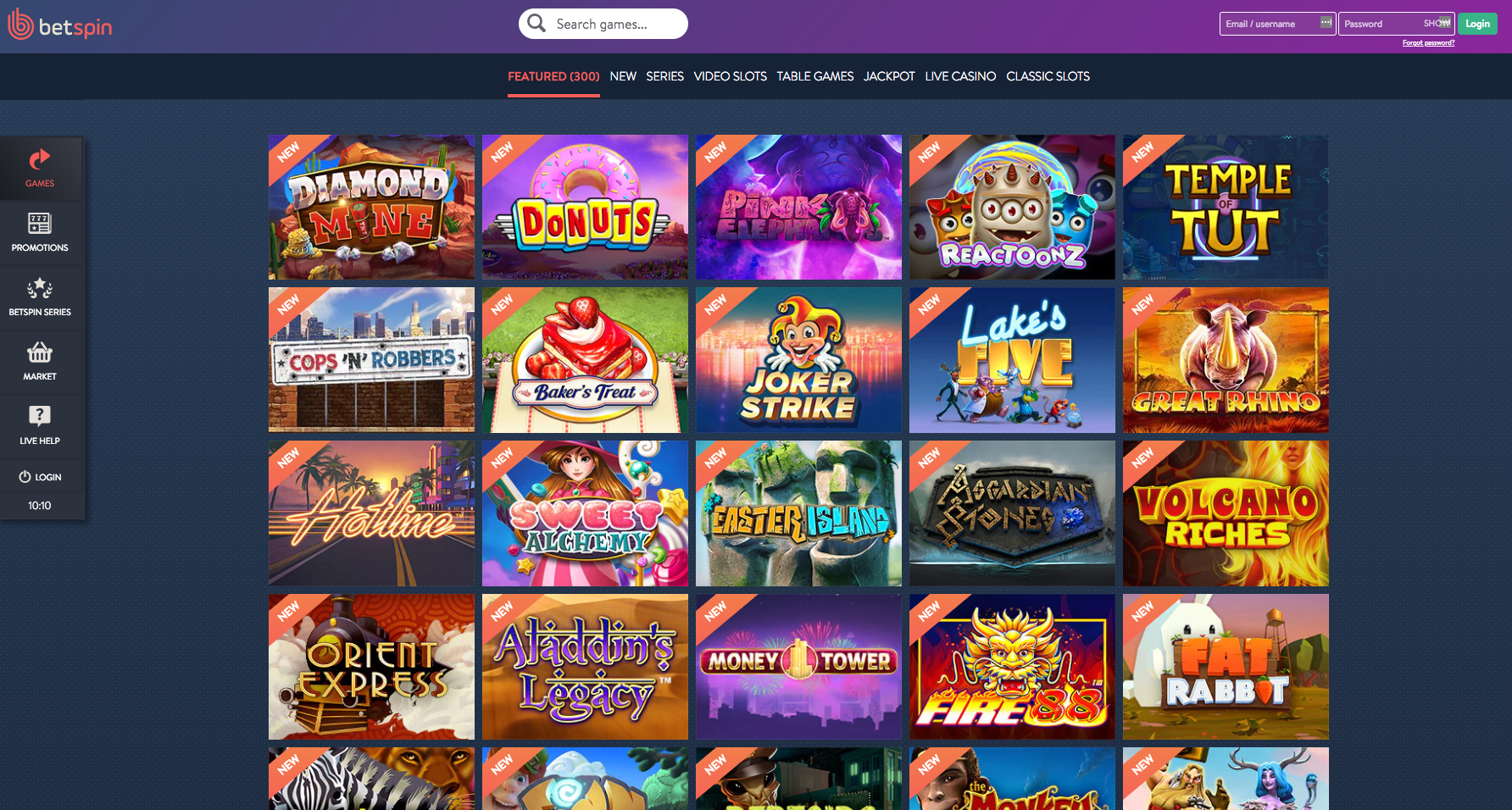 Popular games at Betspin Casino