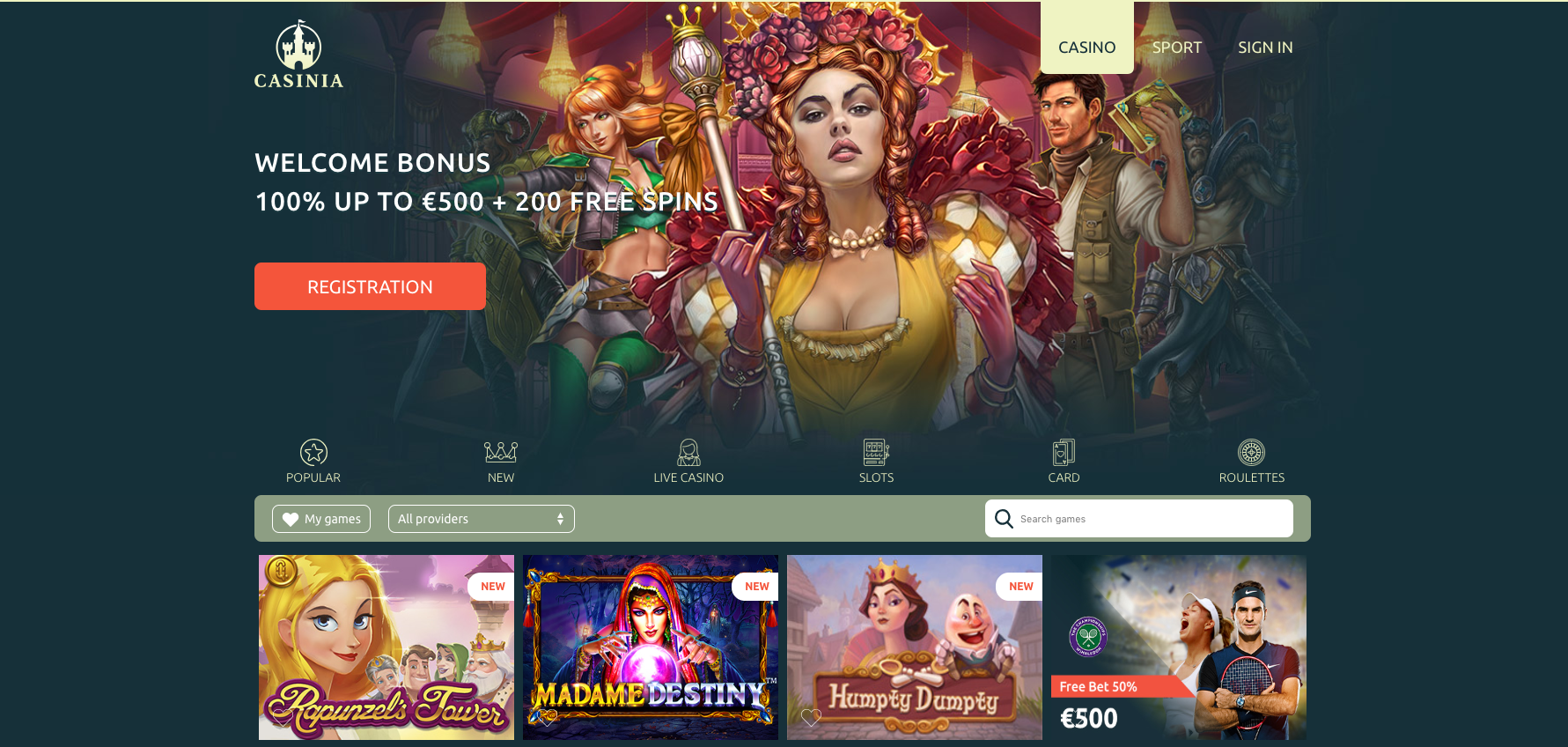 A screenshot of Casinia Casino welcoming offer page