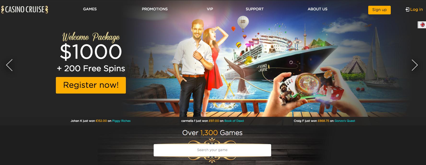 A screenshot of Casino Cruise casino gaming offers