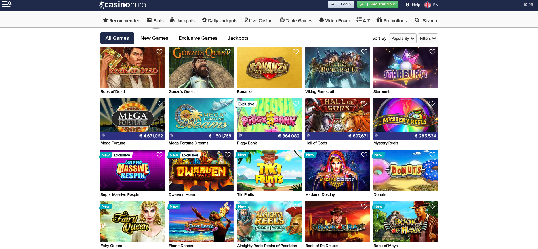 A screenshot of top slot games available at casino Euro casino library