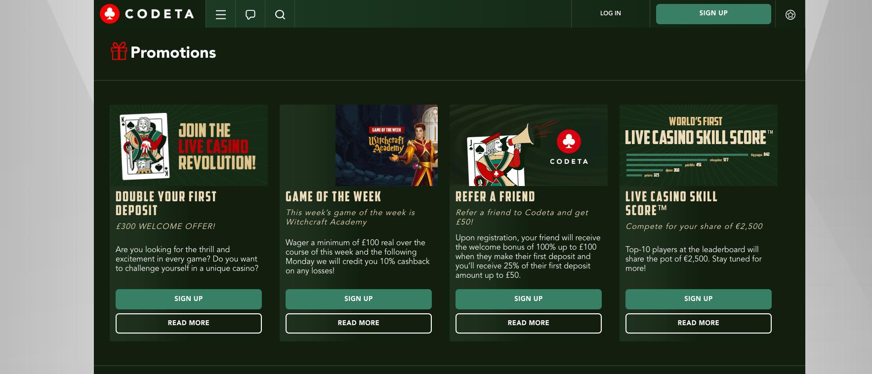 A screenshot of Codeta casino cash back offer