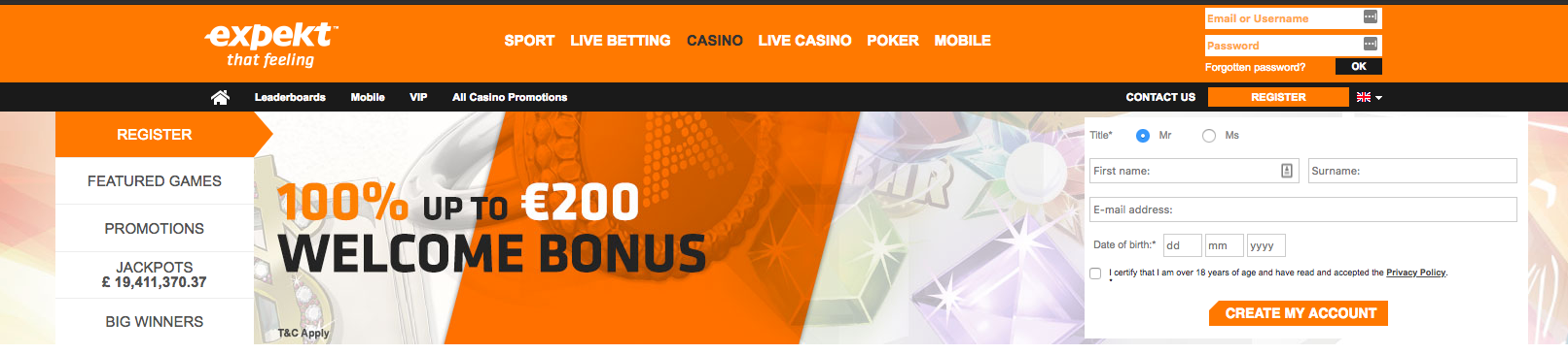 Expekt Casino Welcome Bonuses and Promotions